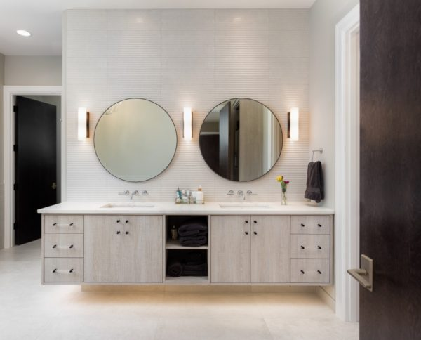Bathroom Design with Unique Mirrors & Lighting