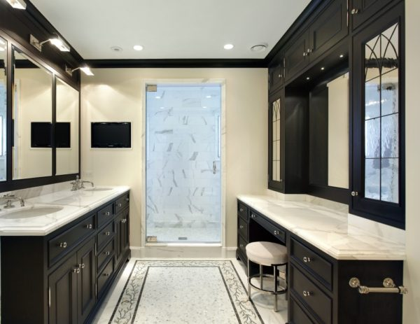 Luxury Bathroom with Dark Cabinets & Dual Vanities