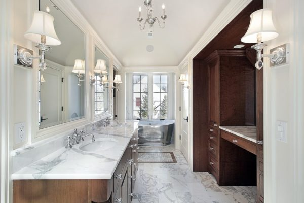 Bathroom Remodel with Marble Floors & Countertops